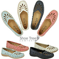 Ladies Brogue Pumps Casual Office Work Cut Out Slip On Sandal Shoes Sizes UK 3-8