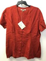NWT Flax Tunic Top Short Sleeve V-Neck Red Linen Womens L Lagenlook Fitted