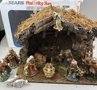 Sears Nativity Set Vintage 32 97904 Wood Stable 12 Figurines Music Box Creche