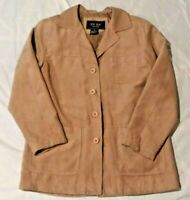 Women' Small FUDA New York Jacket Coat Lightweight Faux Suede Polyester Beige