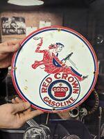 VINTAGE OLD 1934 RED CROWN GASOLINE PORCELAIN SERVICE GAS STATION PUMP SIGN