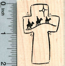 Christmas Rubber Stamp, Three Wise men, Christian Cross H33301 WM