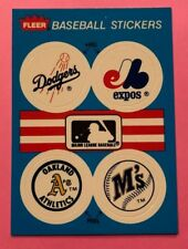 1989 Fleer Team Stickers Inserts Los Angeles Dodgers and Montreal Expos Logos