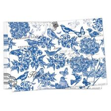 Set / 4 Michel Design Works Cotton Fabric Placemats Indigo Cotton Blue - NEW