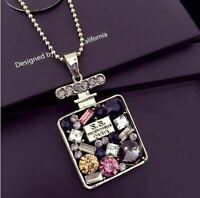 Colorful Rhinestone Long Necklace Pendant Perfume Bottle Necklace For Women Exqu