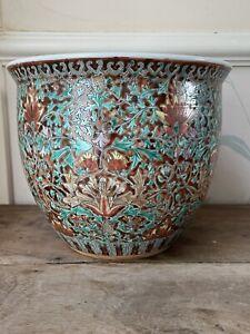 Fine Large 20thC Repubic era Chinese Iron Red glaze hand painted Planter Vase