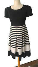 NEW Pepperberry 8 Curvy Black White Striped Fifties Dress Party Short Sleeve