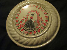 Vintage Tin Metal Flue Pipe Cover Lady in Rose Garden