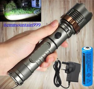 High Powered LED Tactical Torch Ultra Bright 990000lm Flashlight Rechargeable T6