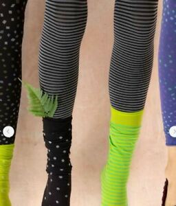 BNWT *Gudrun Sjoden* black stripy recycled microfibre footless tights L