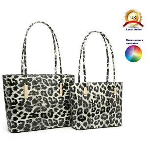 Leopard Print Patent Tote Pairs - 2 Tote Commuting Shoulder Woman (s)Medium Bags