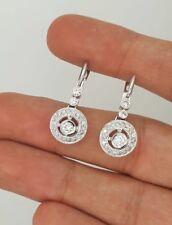NEW 14K WHITE GOLD ROUND DIAMOND FLOWER HANGING DROP CHANDELIER RUSSIAN EARRINGS