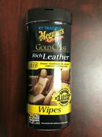 NEW Meguiar's G10900 Gold Class Rich Leather Cleaner And Conditioner Wipes 25 ct