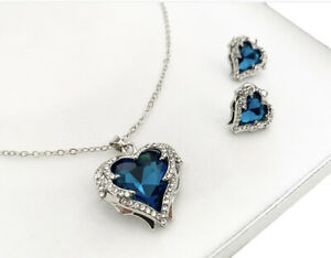 White gold finish heart Turquoise And created diamond necklace And Earrings
