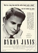 1949 Byron Janis photo piano recital tour booking print ad