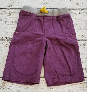 MINI BODEN Boys Dark Purple Knee Patch Canvas Shorts Elastic Waist 6 EUC
