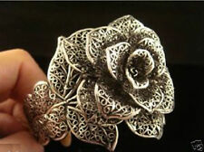 beautiful Tibet silver black Rose Flower cuff bracelet