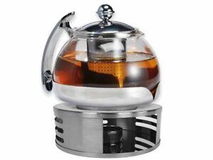 Teekanne Glas mit Stövchen Tee Set Teewärmer & Teebereiter ca. 1,2 Liter