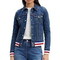Levi's Trucker Jean Jacket Original Rib Trim Red White Blue Women's New XS
