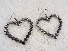 Gunmetal HEART Pierced Earrings (C29)