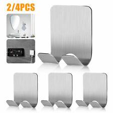 Bathroom Hook Towel Hanger Self Adhesive Stainless Steel Kitchen Hotel Holder US