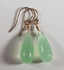 Light Green Chalcedony Earrings Long Teardrops 14k gold filled Smooth Drops