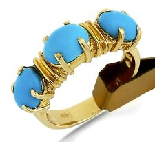 VTG Women's 3 Stone Ring Powder Blue Natural Turquoise 14k SOLID Gold