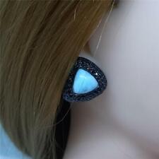 Genuine 10.80ctw Larimar & Spinel Black Rhodium 925 Silver Earrings 15.9g