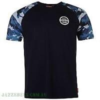 Kickers Mens T-Shirt Top Tee Navy and Camo Sleeve Size 2X Large   *11