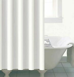 NEW MODERN DESIGN WHITE SHOWER BATHROOM CURTAIN 180 X 180 CM WITH 12 HOOKS UK