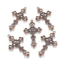 20x Tibet Red Copper Metal Pendant Crucifix Cross Jewelry Finding Charm Tibetan