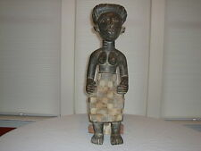 """African Statue ~ Female Sitting On Stool ~ Wood W/Natural Pigment ~ 27"""" Tall"""