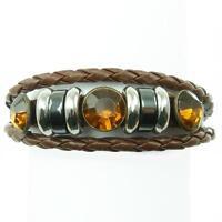 Bracelet Homme ou Femme Réglable 16 – 18 Cm Cuir strass Tresse Orange Marron