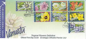 Vanuatu 2006 FDC Tropical Flowers Definitives International 8v S/A Set Cover