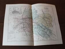 1850 Carte Géographique Atlas époque couleur Département Loiret 45 Orléans