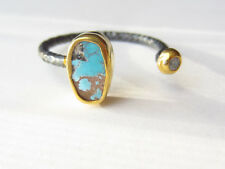 Gold Plated 925 Sterling Silver Turkish Turquoise Topaz Designer Oval Ring 8.5