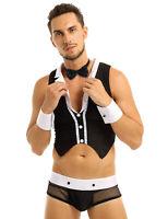 Men Waiter Maid Role Play Fancy Costume Lingerie Boxer Briefs Underwear Cosplay