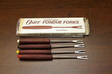 """Vintage Oster Fondue Forks Set 4 Stainless Steel Teak Handles Japan 7"""""""