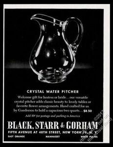 1950 Gunderson crystal glass water pitcher photo Black Starr & Gorham print ad