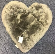 DUNELM Grey Sheepskin Heart Shaped Rug Nursery Bedroom Baby