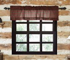 TARTAN RED PLAID Valance Lined Country Plaid Cotton Rustic Cabin Lodge VHC 16x72