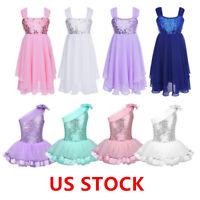 US Kid Girls Sequined Ballet Leotard Dress Lyrical Modern Dance Wear Gym Costume