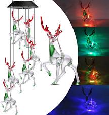 Geemoo Solar Wind Chimes Lights, Color Changing Reindeer Wind Chimes, Waterproof