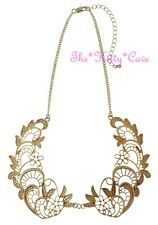 Filigree Cutwork Lacy Metal Lace Textured Matte Gold Peter Pan Collar Necklace