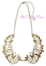 Encaje de Metal de encaje calado filigrana de oro mate texturado Cuello Peter Pan Collar