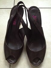Jones Bootmaker Ladies Brown Heeled Peeptoe Slingback Shoes Size 38 / 5.