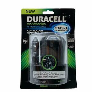 NIB Duracell Rechargeable Hi-Performance Cup Holder Power Station 12V 2USB Ports