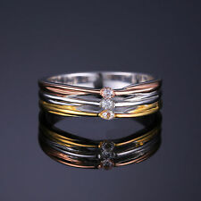 6mm Three Tone 18ct Gold Plated Solid Sterling Silver & CZ Ring Size  8