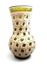 "Vintage Green&Beige Vase Glass Mosaic Hand Made Home Decorative 9"" High"