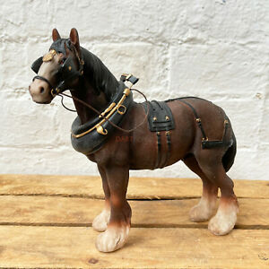 Lifelike Dark Brown Country Clydesdale Shire Horse Figurine Pony Ornament Gift